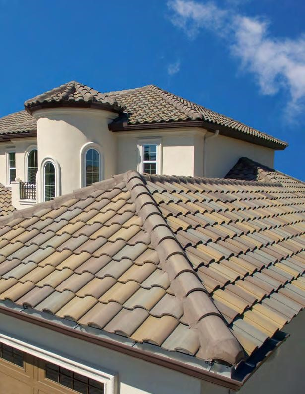 A level view of a newly installed tile roof.