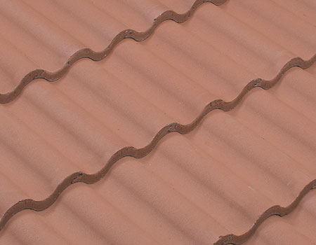 A closeup of a tile roof.